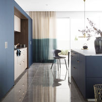 Contemporary kitchen / wood veneer / walnut / marble