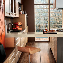 Contemporary kitchen / wood veneer / oak / island