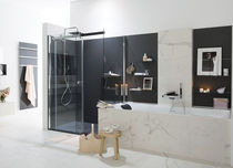 Contemporary bathroom / lacquered wood / marble
