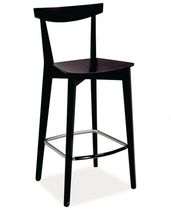 Contemporary bar chair / with footrest / wenge / beech