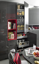 Lacquered wood storage cabinet for kitchen