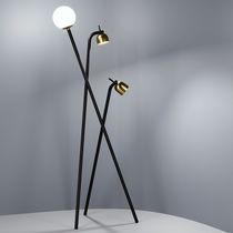 Floor-standing lamp / contemporary / brass / frosted glass