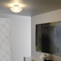 Contemporary ceiling light / round / glass / halogen
