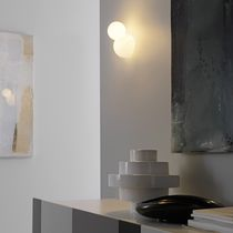 Contemporary wall light / glass / halogen / round
