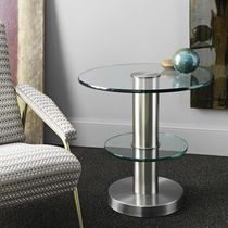 Contemporary side table / glass / brass / round