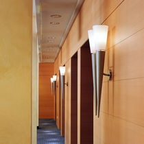 Contemporary wall light / metal / glass / wooden