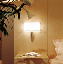 Contemporary wall light / painted metal / fabric / incandescent