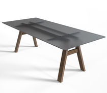 Contemporary dining table / solid wood / glass / rectangular