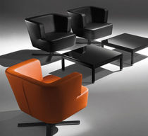 Visitor armchair / contemporary / steel / leather