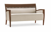 Traditional sofa / fabric / beech / leather