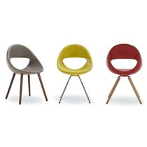 Contemporary restaurant chair / upholstered / wooden / steel