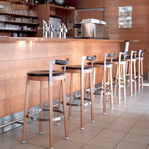 Contemporary bar stool / wooden / leather / stainless steel
