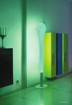 Contemporary light column / fluorescent / outdoor / indoor