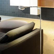 Floor-standing lamp / contemporary / chromed metal / swing-arm