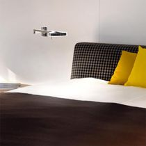 Contemporary wall light / chromed metal / LED / round