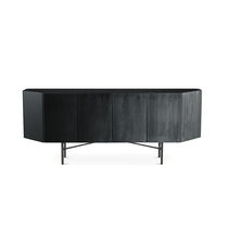 Contemporary sideboard / wooden / glass / lacquered metal