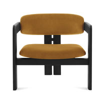 Contemporary armchair / fabric / leather / ash