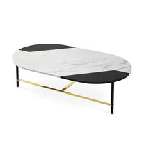 Contemporary coffee table / anodized aluminum / marble / oval