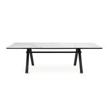 Contemporary table / anodized aluminum / marble / rectangular