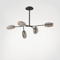 Pendant lamp / contemporary / metal / blown glass