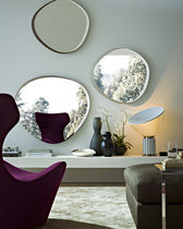 Wall-mounted mirror / contemporary / wood / living room