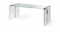 Multimedia desk / stainless steel / glass / contemporary