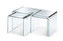 Contemporary nesting tables / glass / tempered glass / stainless steel