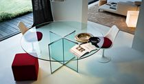 Contemporary table / glass / tempered glass / round