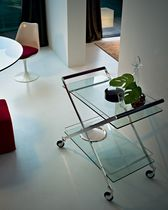 Glass service trolley / oak / stainless steel