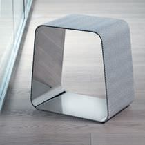 Contemporary stool / leather / stainless steel / upholstered
