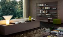 Contemporary sideboard / wooden / lacquered wood / glass