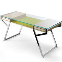 Ash desk / stainless steel / glass / contemporary