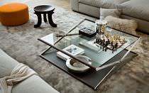 Contemporary coffee table / glass / oak / tempered glass