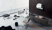 Multimedia desk / aluminum / stainless steel / glass