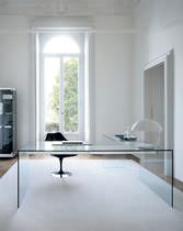 Aluminum desk / stainless steel / glass / contemporary
