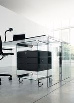 Glass office unit / 3-drawer / on casters