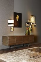 Contemporary sideboard / glass / tempered glass facing / metal