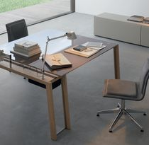 Oak desk / stainless steel / glass / contemporary