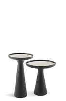 Contemporary side table / marble / lacquered wood / round