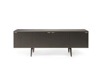 Contemporary sideboard / wooden / tempered glass facing / lacquered metal