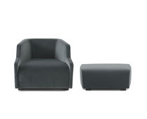 Contemporary armchair / velvet / with footrest / for hotels