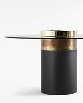 Contemporary dining table / wooden / metal / crystal