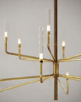 Contemporary chandelier / crystal / Pyrex® / brass