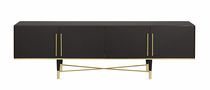 Contemporary sideboard / wooden / with shelf / black