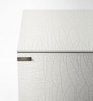 Modern sideboard / tempered glass facing / lacquered metal / with glass panel