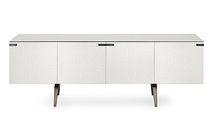 Modern sideboard / lacquered metal / tempered glass / with glass panel