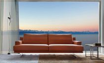 Contemporary sofa / fabric / 3-seater / brown