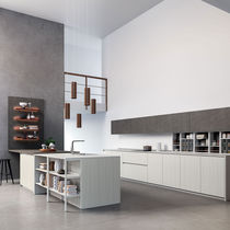 Contemporary kitchen / wood veneer / laminate / island