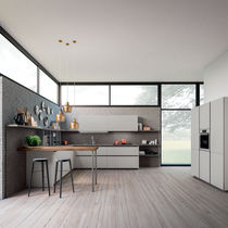 Contemporary kitchen / wood veneer / lacquered wood / L-shaped