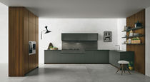 Contemporary kitchen / melamine / stainless steel / marble